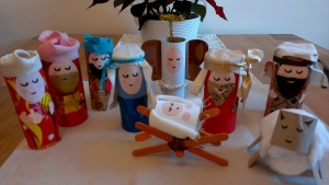 The Finished Toilet Roll Nativity Scene