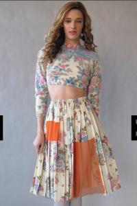joseph aaron segal patchwork skirt