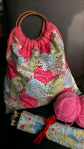 patchwork knitting bag