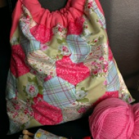 The Finished Patchwork Knitting Bag