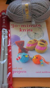 wool, needles and knitting book