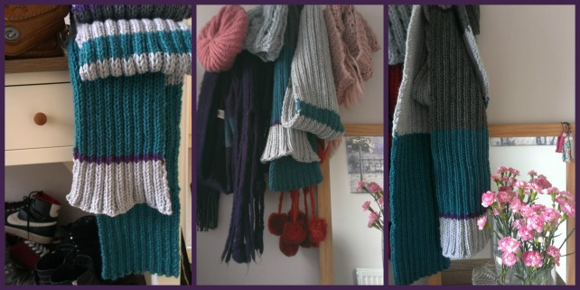 striped chunky knit scarf