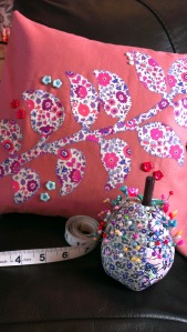 liberty applique cushion