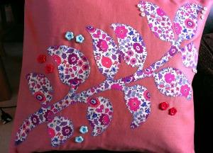 handmade liberty applique cushion