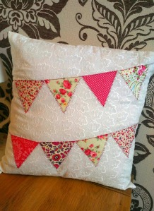 applique bunting cushion