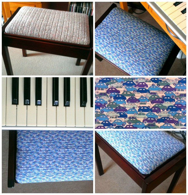 reupholstered Liberty print piano stool