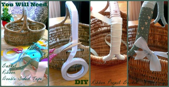 diy ribbon handle project basket