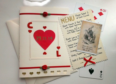 my handmade alice in wonderland wedding invitations