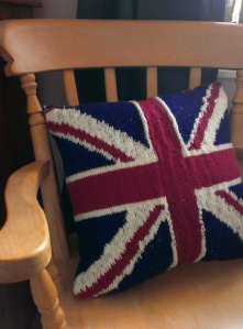 union jack knitted cushion fairisle