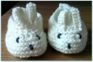 knitted bunny baby booties