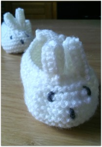 knitted bunny booties