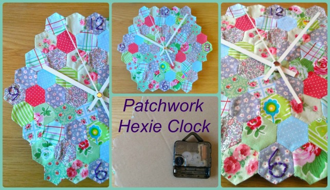 diy hexie patchwork clock