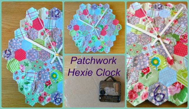 diy hexie patchwork clock