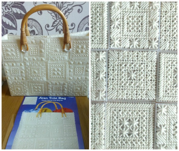 aran needlework tote bag