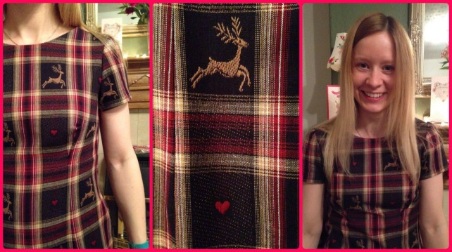 reindeer tartan megan dress love at first stitch